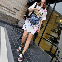"""Louis Vutitton"" Women Loose Casual Personality Multicolor Letter Cartoon Crown Dog Head Short Sleeve T-shirt Dress"