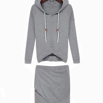 Gray Drawstring Hood Long Sleeve Jacket with Skirt