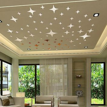 50pcs Twinkle Stars Ceiling Decor Crystal Reflective DIY Mirror Effect 3D Wall Stickers Home TV Background Decor 5*5cm