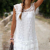 Sleeveless Lace Mini Dress - NOVASHE.com
