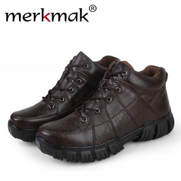 Merkmak Genuine Leather Men Boots 2016 Autumn Winter Fashion Ankle Climbing Army Boots