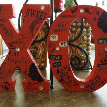 x o I Love You Altered Wooden Letters Home Decor