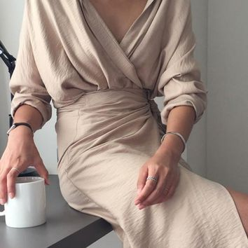 Beige Sashes Irregular Turndown Collar Fashion Midi Dress