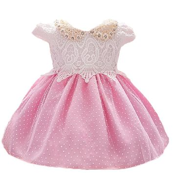 Newborn 1 Year Birthday Dress Baby Kids Clothing Lace Christening Ball Gown Beads Decoration Events Party Dress For Toddler Girl