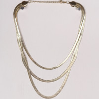 Triple Chain Textured Pattern Necklace