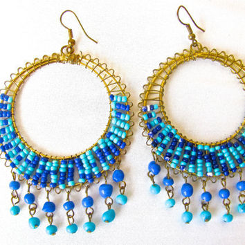 Turquoise Blue and Royal Blue Beaded Wire Wrap Hoop Earrings