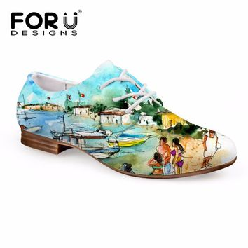 FORUDESIGNS Fashion Oxford Shoes Women 3D Painting Prints Women's Flats Oxfords Leather Shoes for Ladies Lace-up Casual Shoes