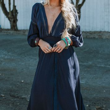 Serendipity Deep V Maxi Dress - Navy