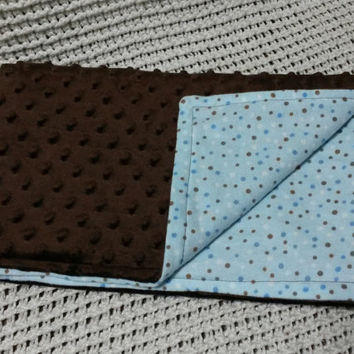 Blue and Brown Spotted Minky Baby Blanket (flannel, soft, brown, dots)