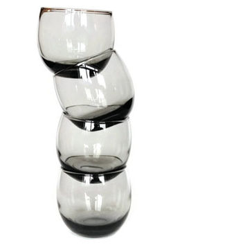 Hand Blown Roly Poly Glasses, Smokey Polies, Mad Men Bar Glasses