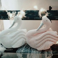 2017 New Fahion Baby White Pink Swan Stuff Plush Toy Cushion Pillow Kids Room Bed Sofa Decoration Children Birthday Gift