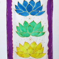"Chakra wall hanging,' Crystal Lotus"",chakra art, metaphysical art, yoga art, reiki art. healing art, new age art, spiritual art"