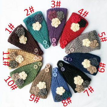 2015 Newest Three small flower Women Knitted Headwrap Knitting wool crochet headbands ear warmers for Girls Teens 10 pcs/lot