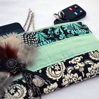 Boho feather and chain pleated Clutch Purse, zippered Pouch, summer Clutch, wristlet