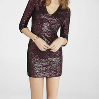 Red V-neck Sequin Mini Dress from EXPRESS