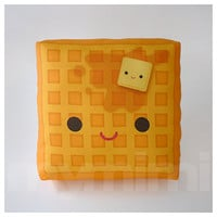 Decorative Pillow, Mini Pillow, Kawaii Print, Toy Pillow - Yummy Waffle