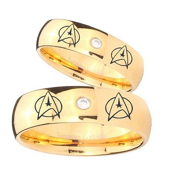 Bride and Groom Star Trek Dome Gold Tungsten Carbide CZ Mens Wedding Ring Set