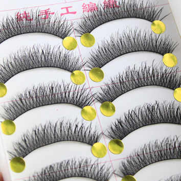 Thick Long Sexy Hot Deal Hot Sale Handcrafts Cotton Stalk Natural 10-pairs False Eyelashes [6532485127]