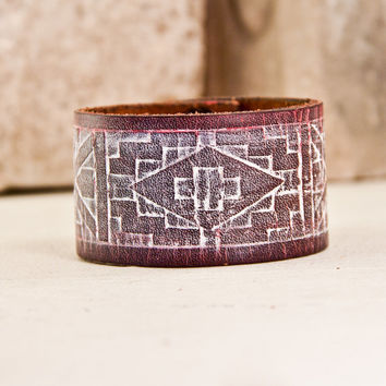 Men's Leather Cuff / Rustic Bracelet - Wristband - Man's Jewelry - Guy's Accessories - New Years Eve for Him New Year 2014 On Sale