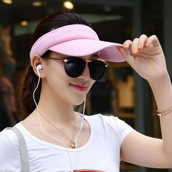 Fashion Adjustable Solid Women Summer Sun Visor Hat Sport Golf Tennis Baseball Caps Hollow Top 56-60cm Adjustable HT-01665