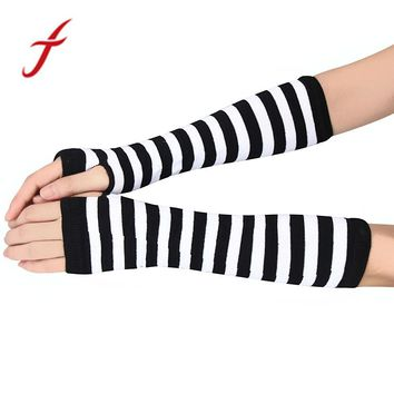 Feitong Women Arm Warmers Winter Fashion Striped Fingerless Gloves button Knitted Mitten Long Gloves guantes tactical gloves