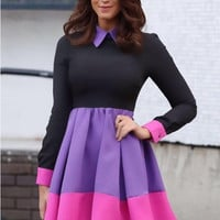 Purple Contrast Pointed Collar Pleated Skater Dress