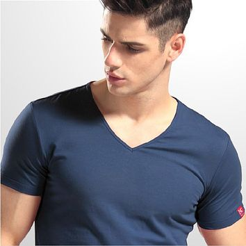 T-shirt Men Classic Max 4XL solid color V neck short sleeves lycra cotton 96% cotton t shirt for man 10 colors HH012V