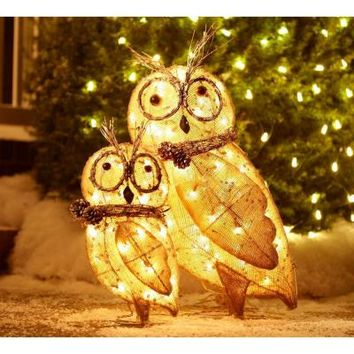 Home Accents Holiday, Lighted Burlap Owl Family, TY029-1414 at The Home Depot - Tablet