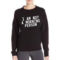 I AM NOT A MORNING PERSON  pink Hoody Sweatshirt Women Hoodies brand funny Long-Sleeve Tops Pullover hip hop autumn top punk