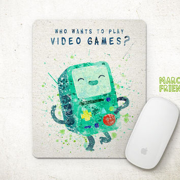 Adventure Time Mouse Pad, BMO Mousepad, Game Boy Watercolor Art, Home Decor, Gift, Art Print, Office Desk, Computer Accessories