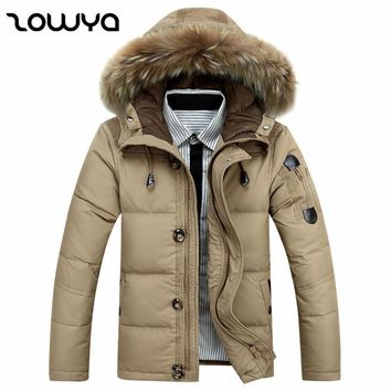 Zowya Fashion Men Down Jacket White Duck Down Coats Thick Warm Winter Jackets Men's 2017 Casual Real Fur Coat Male Brand Parkas