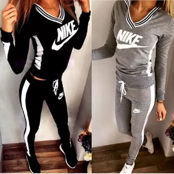 Sexy Print V-Neck Sweatshirt Sweater Pants Sweatpants Set Two-Piece Sportswear [11004758407]