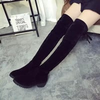Hot Deal On Sale Round-toe With Heel Stretch Slim Boots [9138743495]