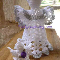 Crochet angel, Christmas ornament, small tree topper, baptism gift, door prize