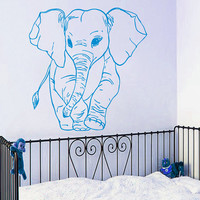 Baby Elephant Wall Decal Pet Shop Vinyl Stickers Safari Decals Dorm Art Mural Home Design Interior Wild Animals Nursery Room Decor KY118