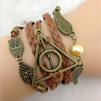 Vintage Owl Harry Potter wings infinity bracelet Multicolor woven leather bracelet & Bangle