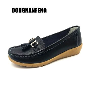 DONGNANFENG Women Flats Ladies Female Leather Shoes Moccasins Loafers Slip On Autumn Cow Genuine Leather Spring 35-44 AHE-C5272
