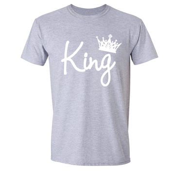 XtraFly Apparel Men's King White Crown Matching Couples Crewneck Short Sleeve T-shirt