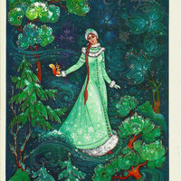Snow Maiden and squirrel - Russian Vintage Postcard