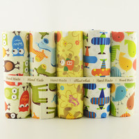 Lovely cartoon design 5PCS/lot cotton fabric 40cmx50cm home textile DIY sewing clothes sewing tecido para patchwork