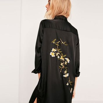 Embroidered Floral Long Silk Shirt Dress