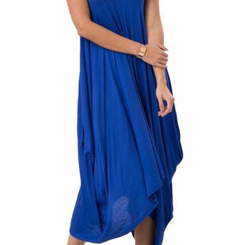 Sleeveless Handkerchief Hanky Hem Maxi Dress