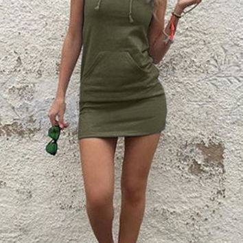 Green Sleeveless Front Pocket Hoodie Mini Dress