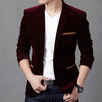2017 Mens Blazer New Arrival Hot Sale!fashion Youth Pure Color Casual Blazer Men,long Sleeves Slim Fit Masculino,three Men Suit