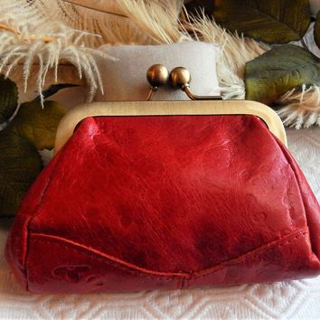 Genuine Embossed Red Leather Brass Kisslock Coin Purse