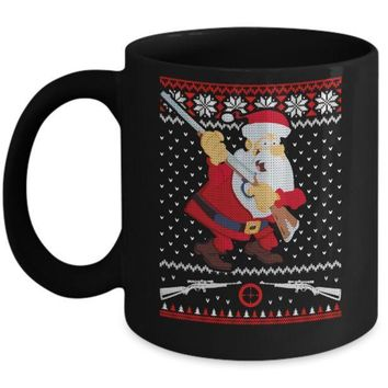 Santa Gun Hunting Ugly Christmas Sweater Funny Mug
