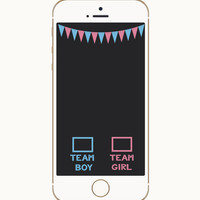 Gender Reveal Snapchat Geofilter, Gender Reveal, He or She, Team Boy, Team Girl