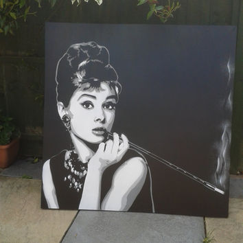 Audrey Hepburn stencil art painting,canvas,spray paint,black & white,pop,urban art,aerosol,street art,movies,iconic,breakfast at Tiffanys