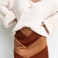 One Song Camel Chevron Suede Skirt