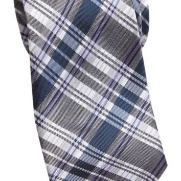 Wilke Rodriguez Purple and Blue Plaid Skinny Tie - Regular Length Ties | Men's Wearhouse